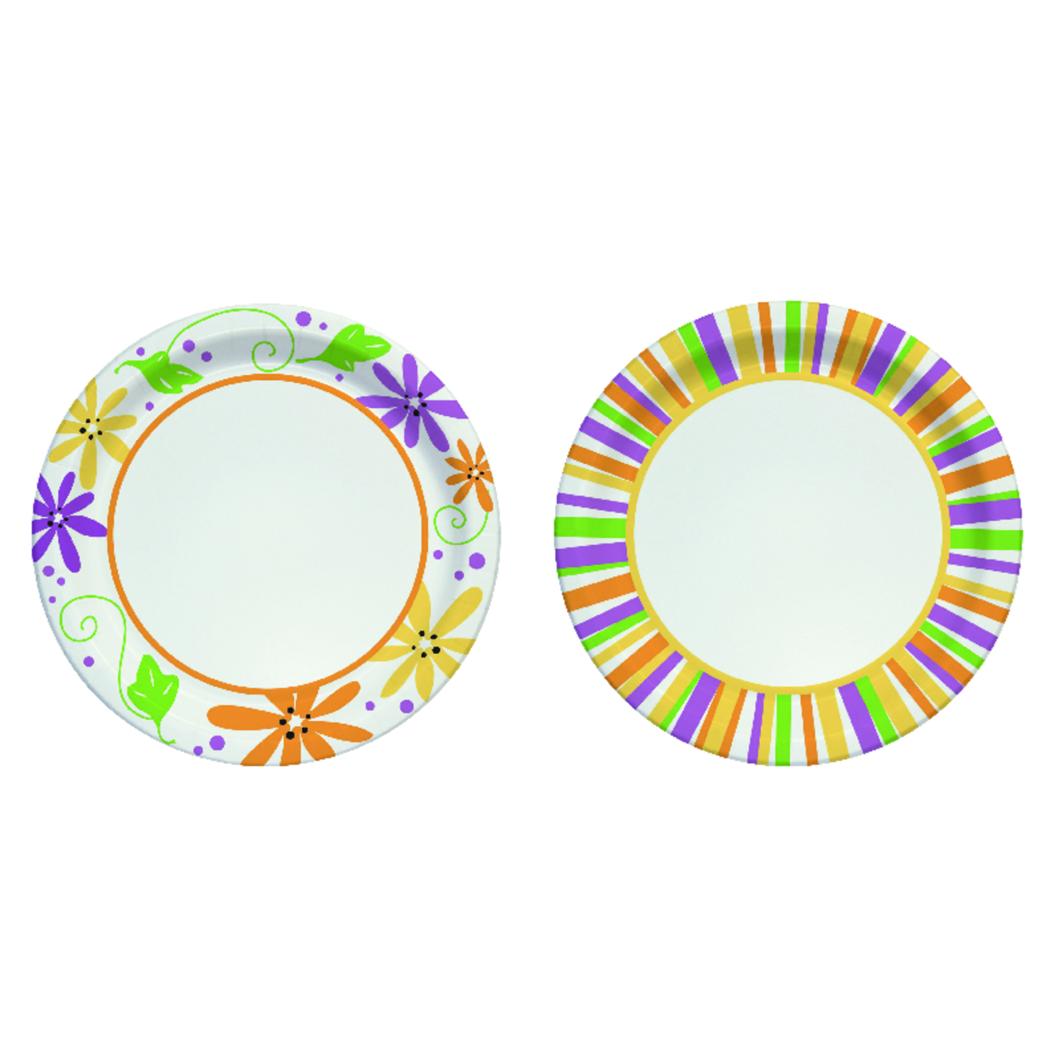 Solo  Paper  Mixed Garden Party Stripes and Flowers Design  Plate  48 pk