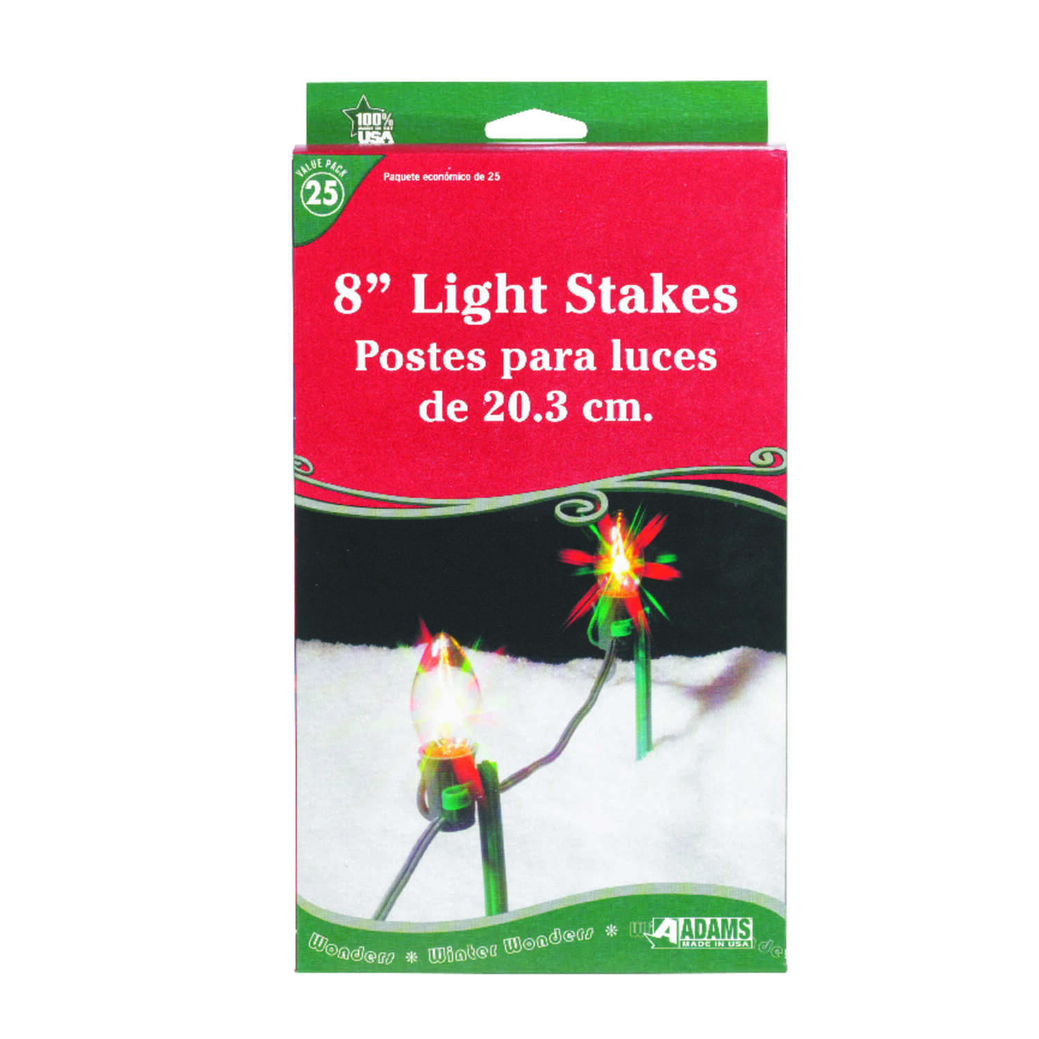 Adams  Christmas  Light Stakes  Clear  Plastic  25 pk