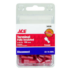 Ace  22-16 AWG Insulated Wire  Female Disconnect  Red  100 pk
