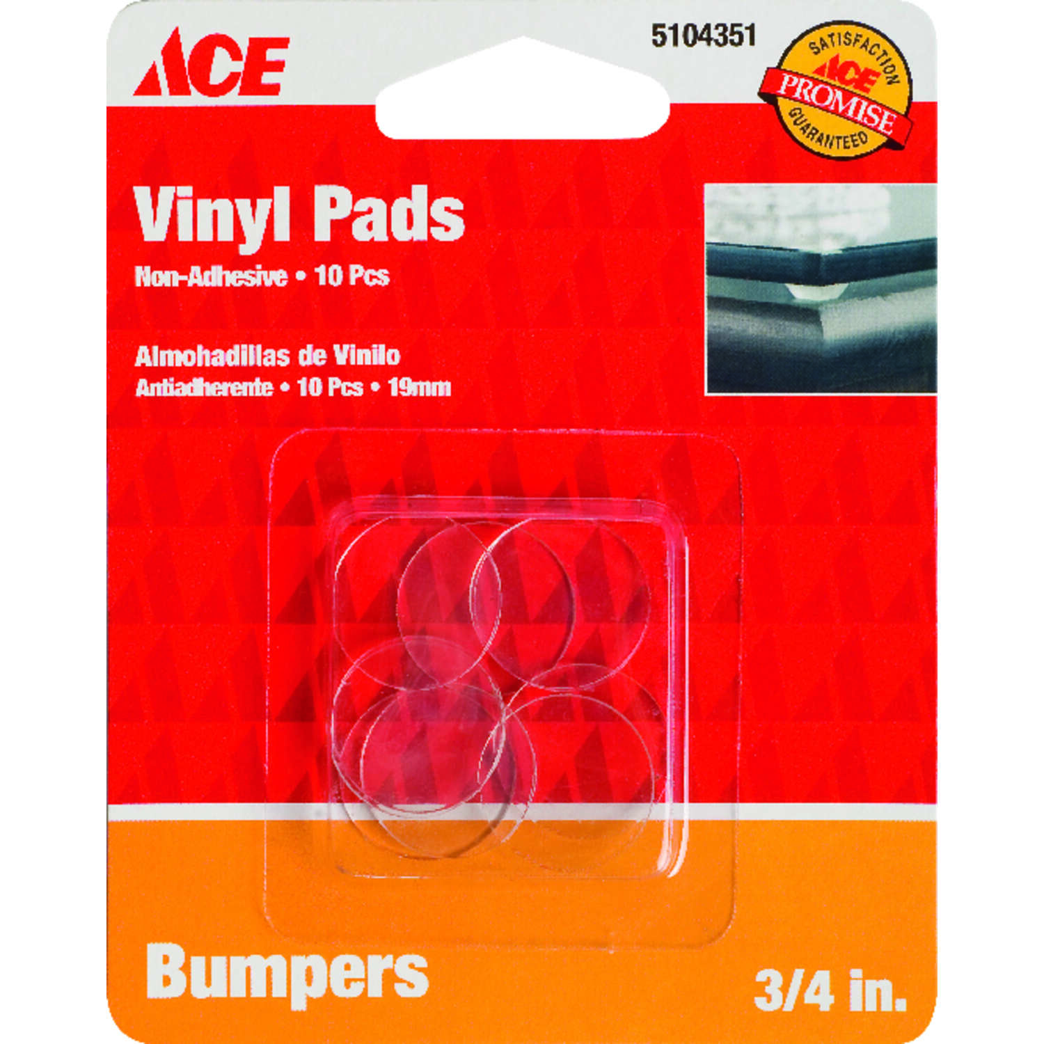 Ace  Vinyl  Protective Pads  Clear  3/4 in. W Round  10 pk