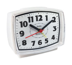 Westclox  4 in. White  Alarm Clock  Analog