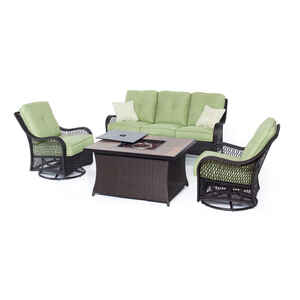 Hanover  4 pc. Brown  Resin  Firepit Seating Set  Green