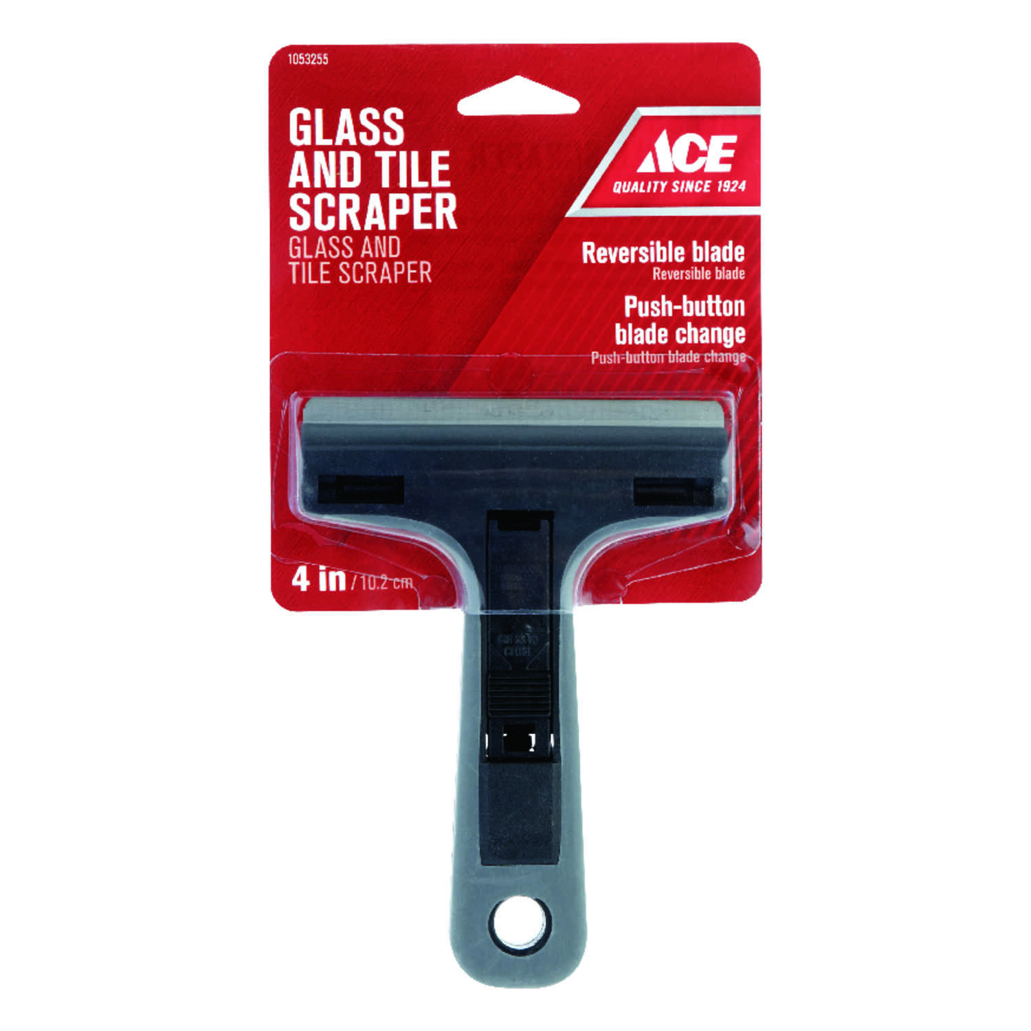 Ace  4 in. W Steel  Reversible  Glass Scraper