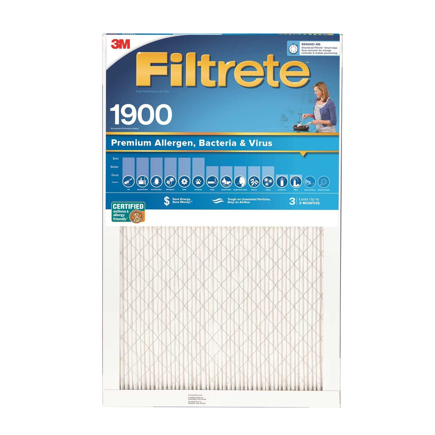 3M  Filtrete  25 in. H x 1 in. D x 20 in. W Allergen Air Filter  Pleated