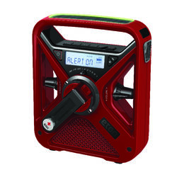 Eton  Red  Weather Alert Radio Flashlight  Digital  Battery Operated