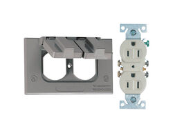 Sigma Electric Rectangle Metal 1 gang Duplex Outlet Kit For Wet Locations