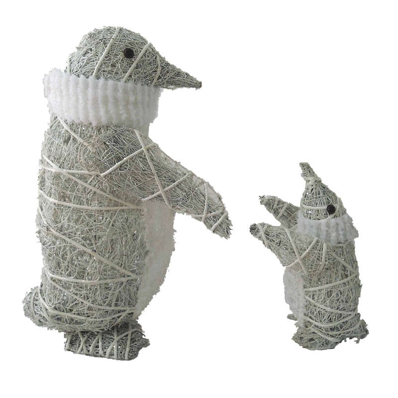 "Celebrations Cool White 26"" and 14"" in. Yard Decor Penguins"