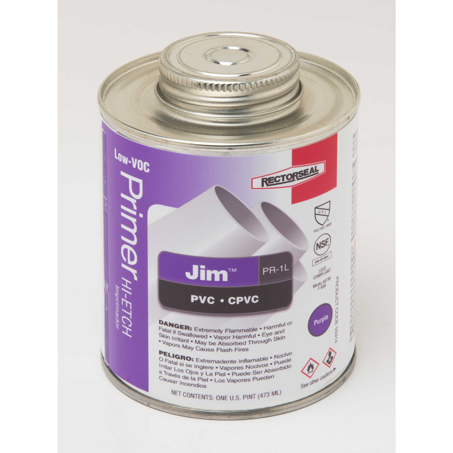 Rectorseal  Jim  Purple  Primer and Cement  For CPVC/PVC 16 oz.