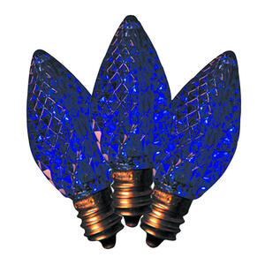 Holiday Bright Lights  LED C7  Faceted  Christmas Light Bulbs  Blue  2 in. 25 pk