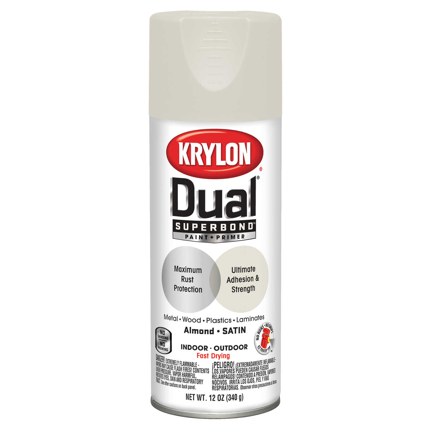 Krylon  Dual  Satin  Almond  Paint + Primer Spray Paint  12 oz.