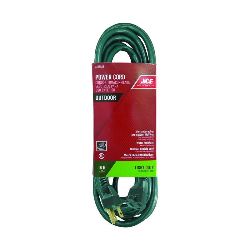 Ace  Outdoor  Green  Extension Cord  16/3 SJTW  15 ft. L