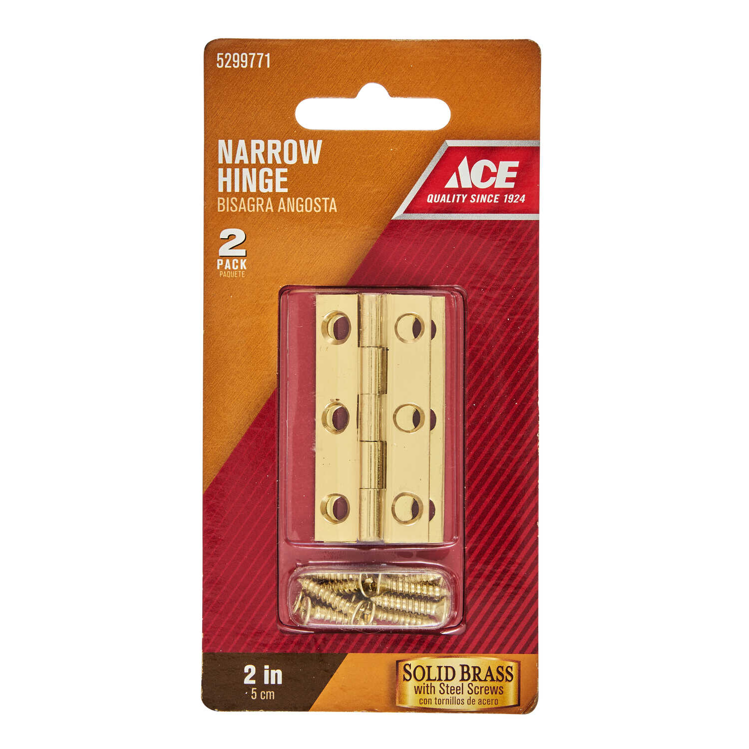 Ace  2 in. W x 1 in. L Polished Brass  Brass  Narrow Hinge  2 pk