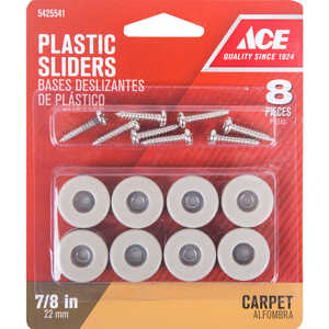 Ace  Plastic  Slide Glide  Off-White  Round  7/8 in. W 8 pk