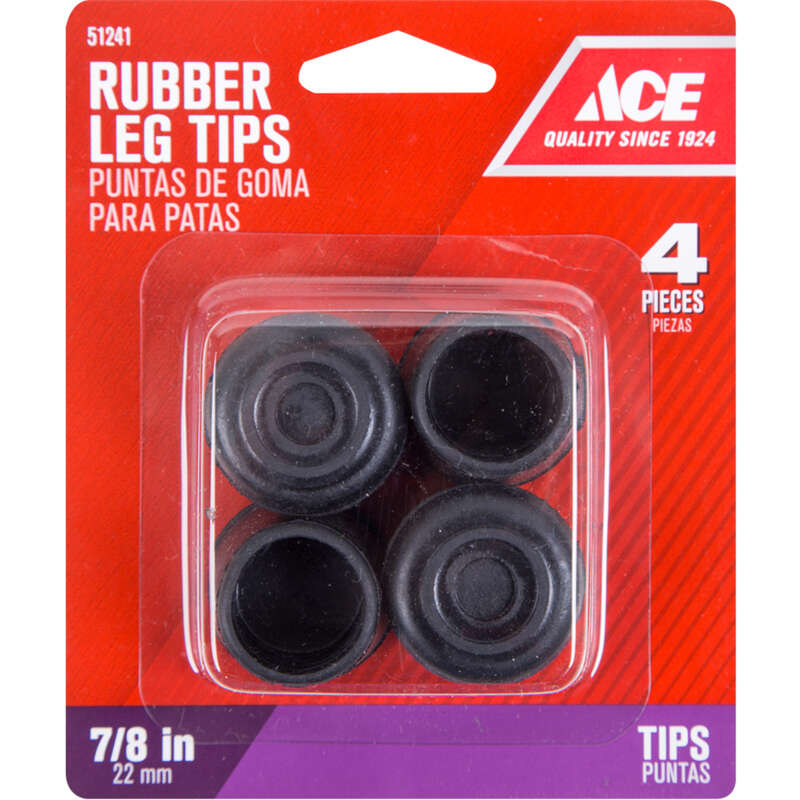 Ace  Rubber  Leg Tip  Black  Round  7/8 in. W 4 pk