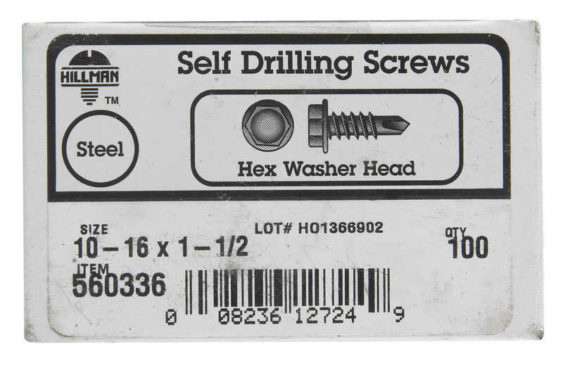 Hillman  10-16 Sizes  x 1-1/2 in. L Hex  Hex Washer Head Zinc-Plated  Steel  Sheet Metal Screws  100