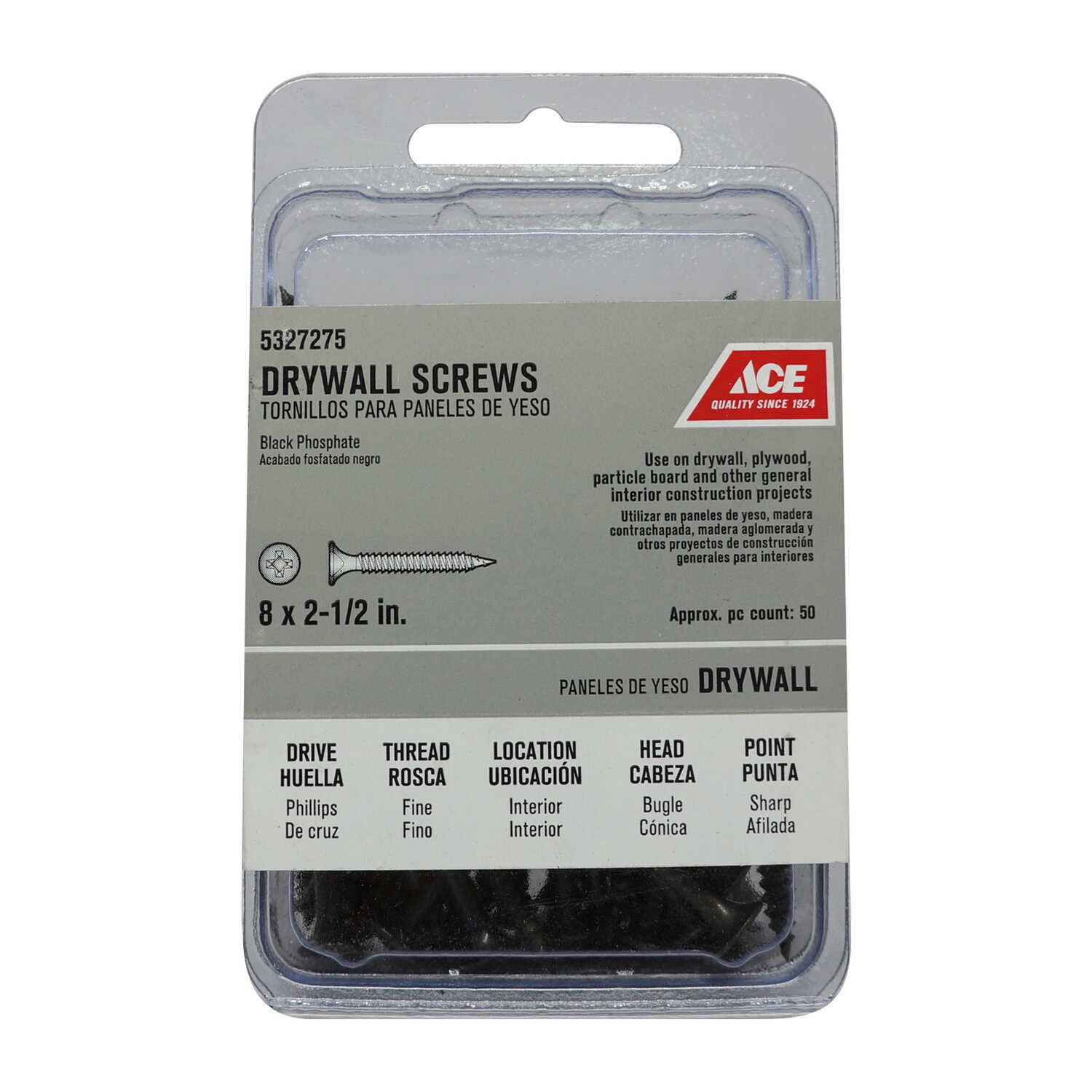 Ace  No. 8   x 2-1/2 in. L Phillips  Bugle Head Black Phosphate  Steel  Drywall Screws  50 pk