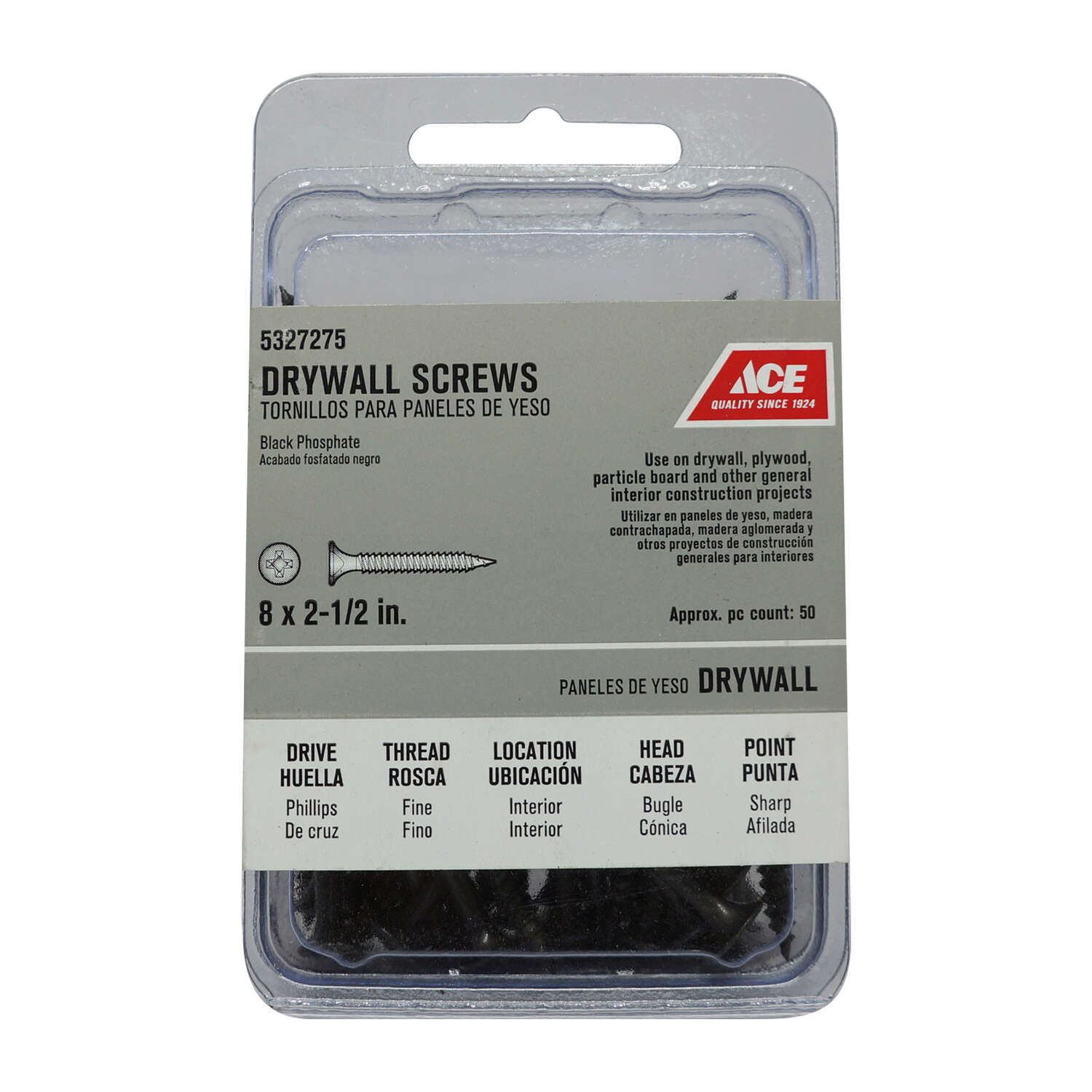 Ace  No. 8   x 2-1/2 in. L Phillips  Drywall Screws  50 pk