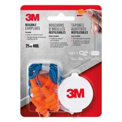 3M 25 dB Polyurethane Foam Ear Plugs Blue/Orange 3 pair