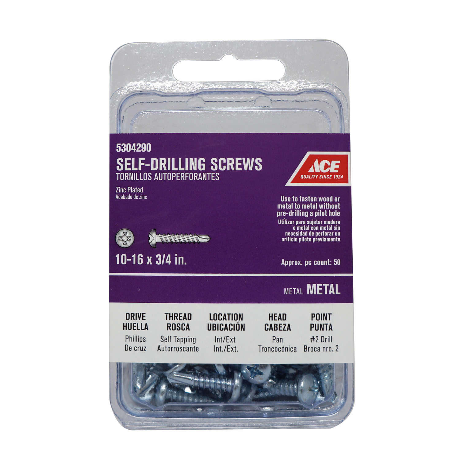Ace  10 Sizes  x 3/4 in. L Phillips  Steel  Self- Drilling Screws  50 per box Zinc-Plated  Pan Head