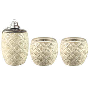 Outdoozie  Ceramic  Gold  Sunburst  Tabletop Torch and Candle Set
