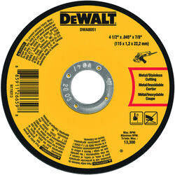 DeWalt  4-1/2 in. Dia. x 7/8 in.  Aluminum Oxide  Metal Cutting Wheel  1 pc.