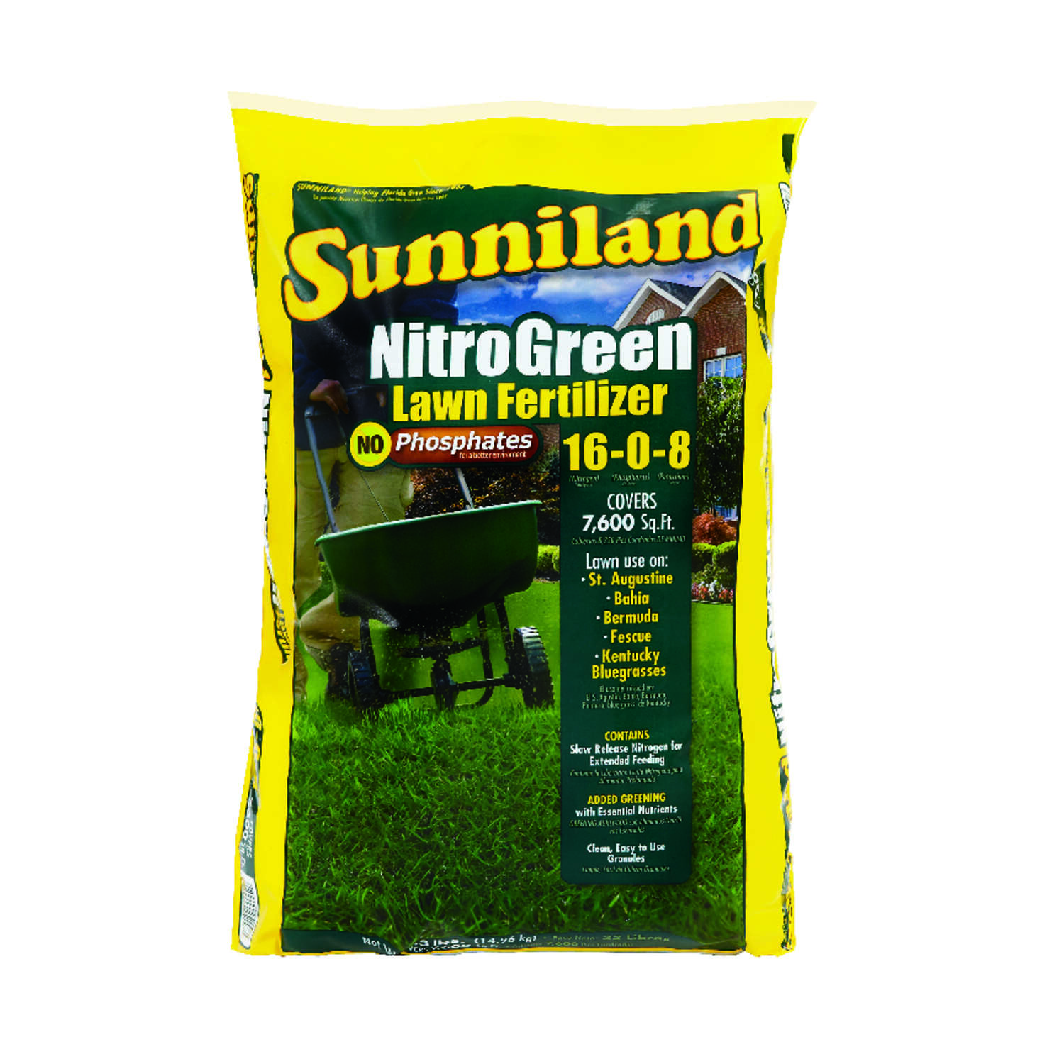 Sunniland  Nitro Green  16-0-8  Lawn Fertilizer  For All Grass Types 33 lb. 7600 sq. ft.