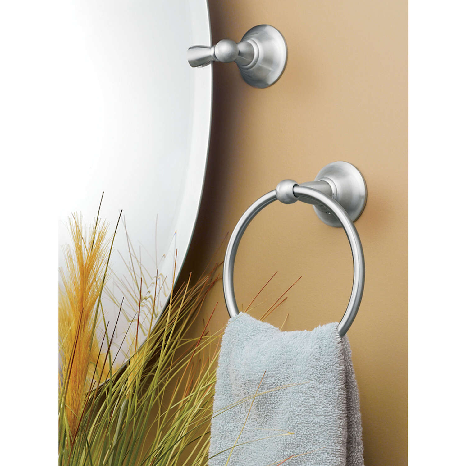 Moen  Sage  Brushed Nickel  Towel Ring  Brass