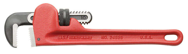 Ace  Pipe Wrench  10 in. Cast Iron  1 pc.