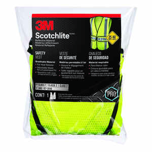 3M  Scotchlite  Polyester Mesh  Reflective Velcro  Yellow  Safety Vest with Reflective Stripe  1 pk