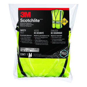 3M  Scotchlite  Reflective Safety Vest with Reflective Stripe  Velcro  Yellow  One Size Fits Most  1
