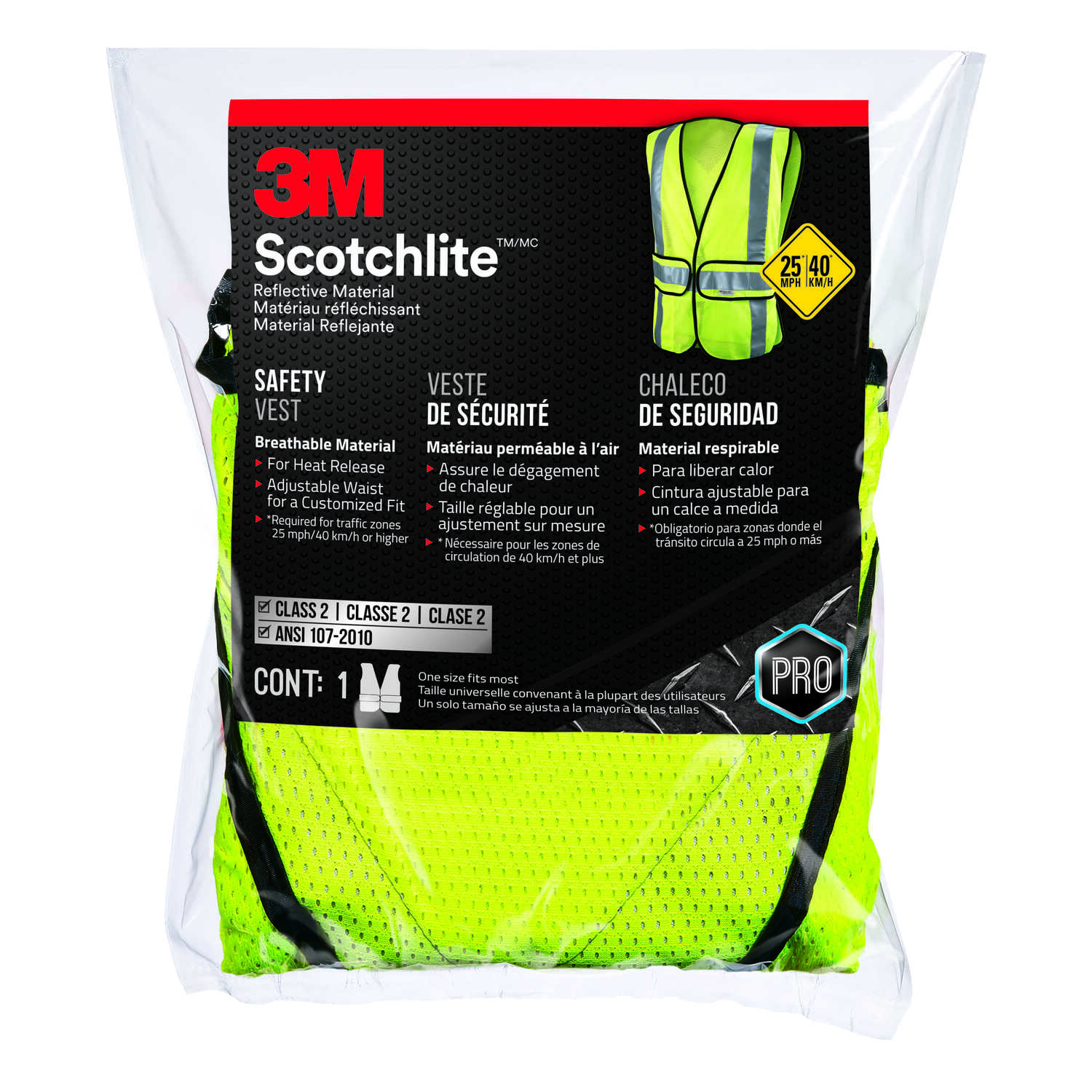 3M  Scotchlite  Reflective Polyester Mesh  Safety Vest with Reflective Stripe  Hook and Loop  Yellow