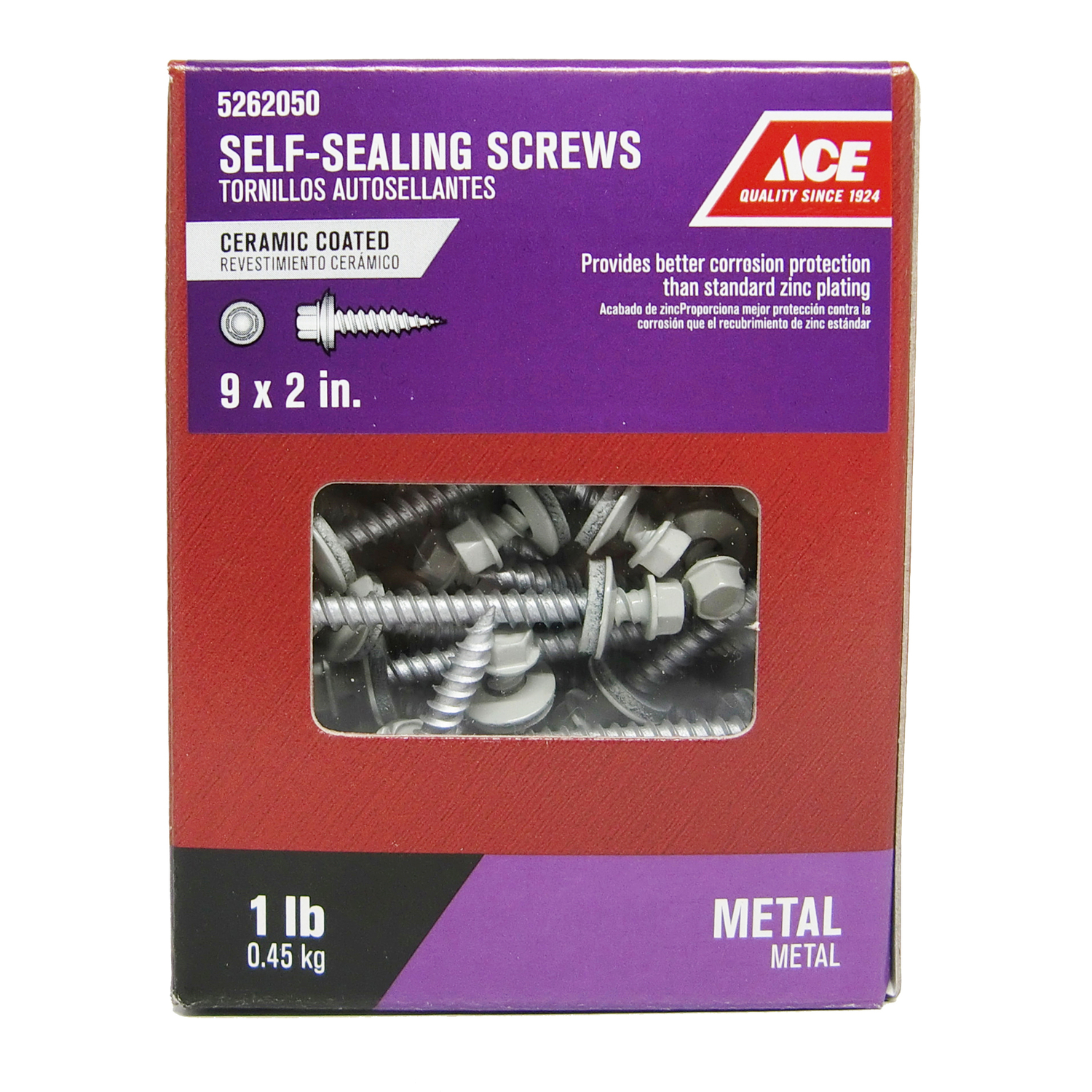 Ace  9 Sizes  x 2 in. L Hex  Ceramic  Steel  Hex Washer  Self-Sealing Screws  1 lb.