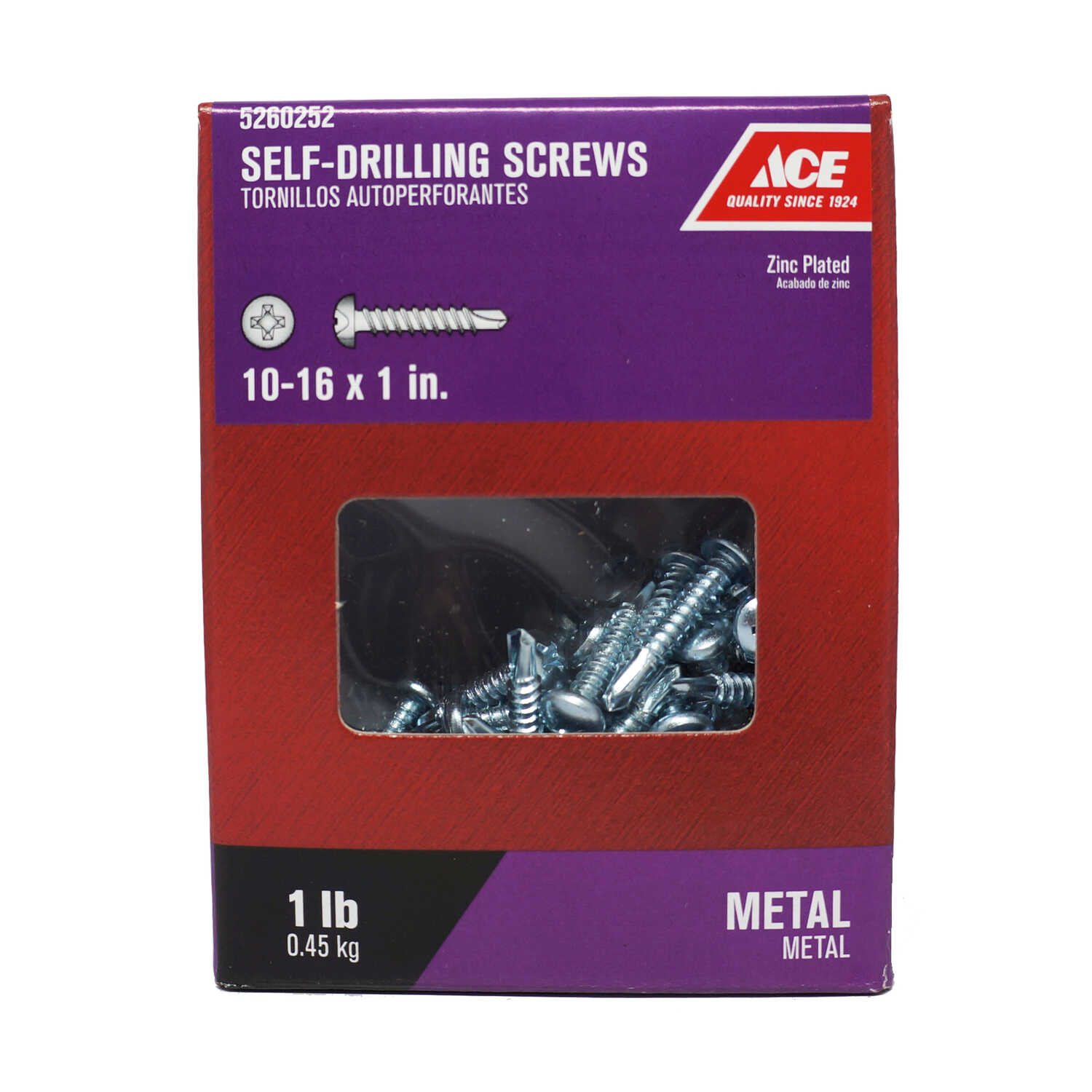 Ace  10-16 Sizes  x 1 in. L Phillips  Zinc-Plated  Steel  Self- Drilling Screws  1 lb. Pan Head