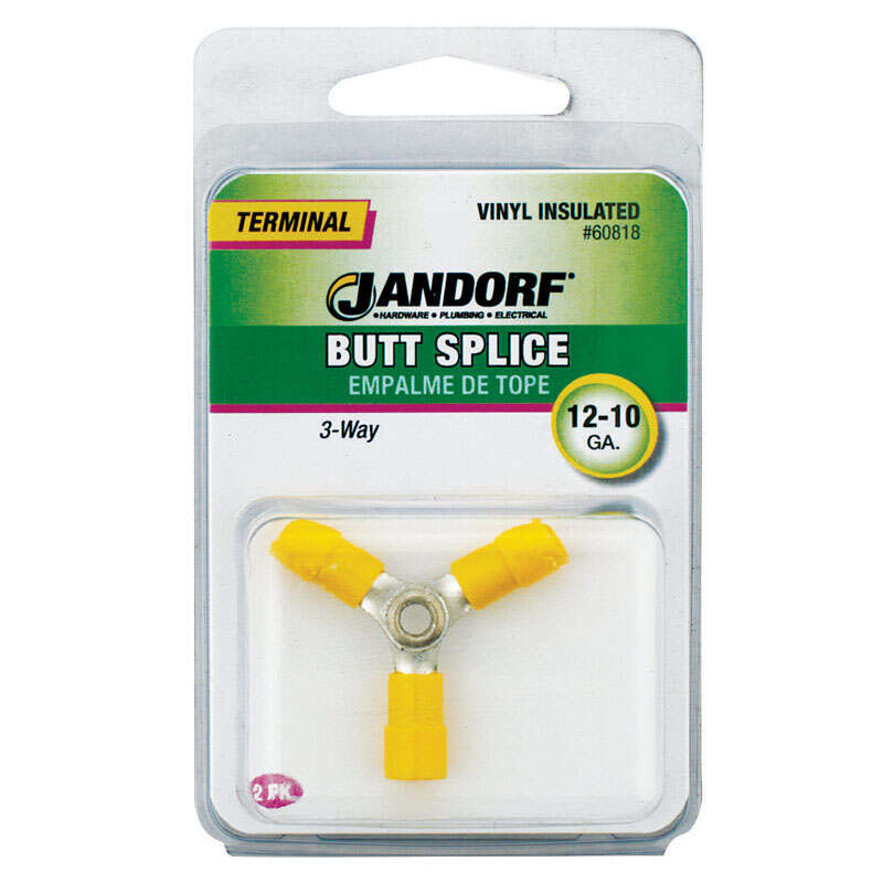 Jandorf  3-Way  Insulated Wire  2 pk Terminal Butt Splice  12-10 Ga.