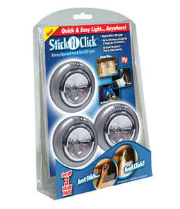 Stick N Click  As Seen On TV  Anywhere Lights  plastic  3 pk