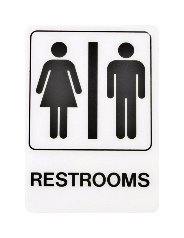 Hy-Ko  English  7 in. H x 5 in. W Plastic  Restrooms  Sign