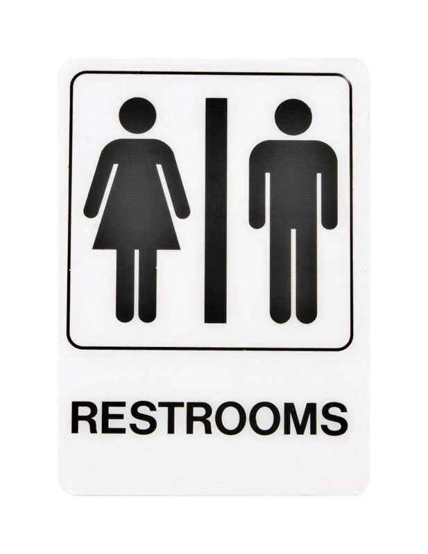 Hy-Ko  English  Restrooms  Sign  Plastic  7 in. H x 5 in. W