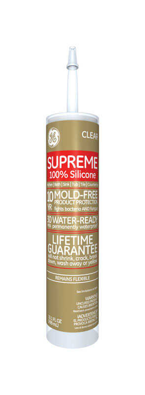 GE  Supreme  Clear  Supreme Silicone  Kitchen and Bath  Silicone  10.1 oz.