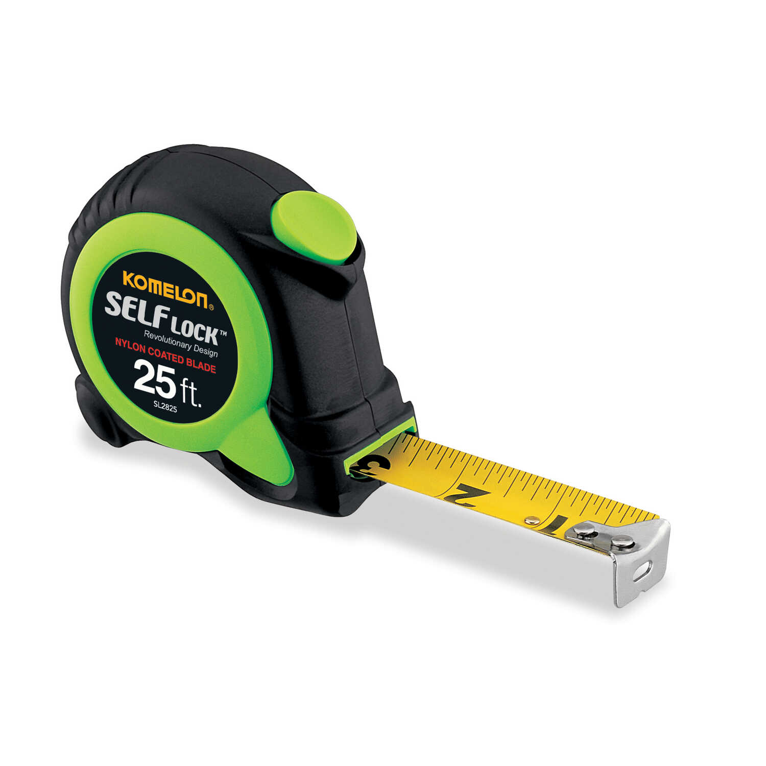 Komelon  Self Lock  25 ft. L x 1 in. W Auto Lock Tape Measure  Green  1 pk