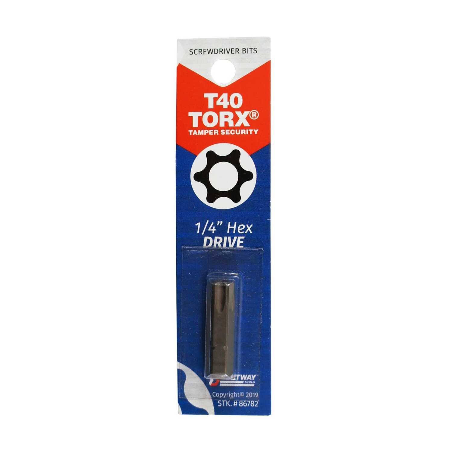 Best Way Tools  Torx  T40   x 1 in. L Screwdriver Bit  Carbon Steel  1 pc.