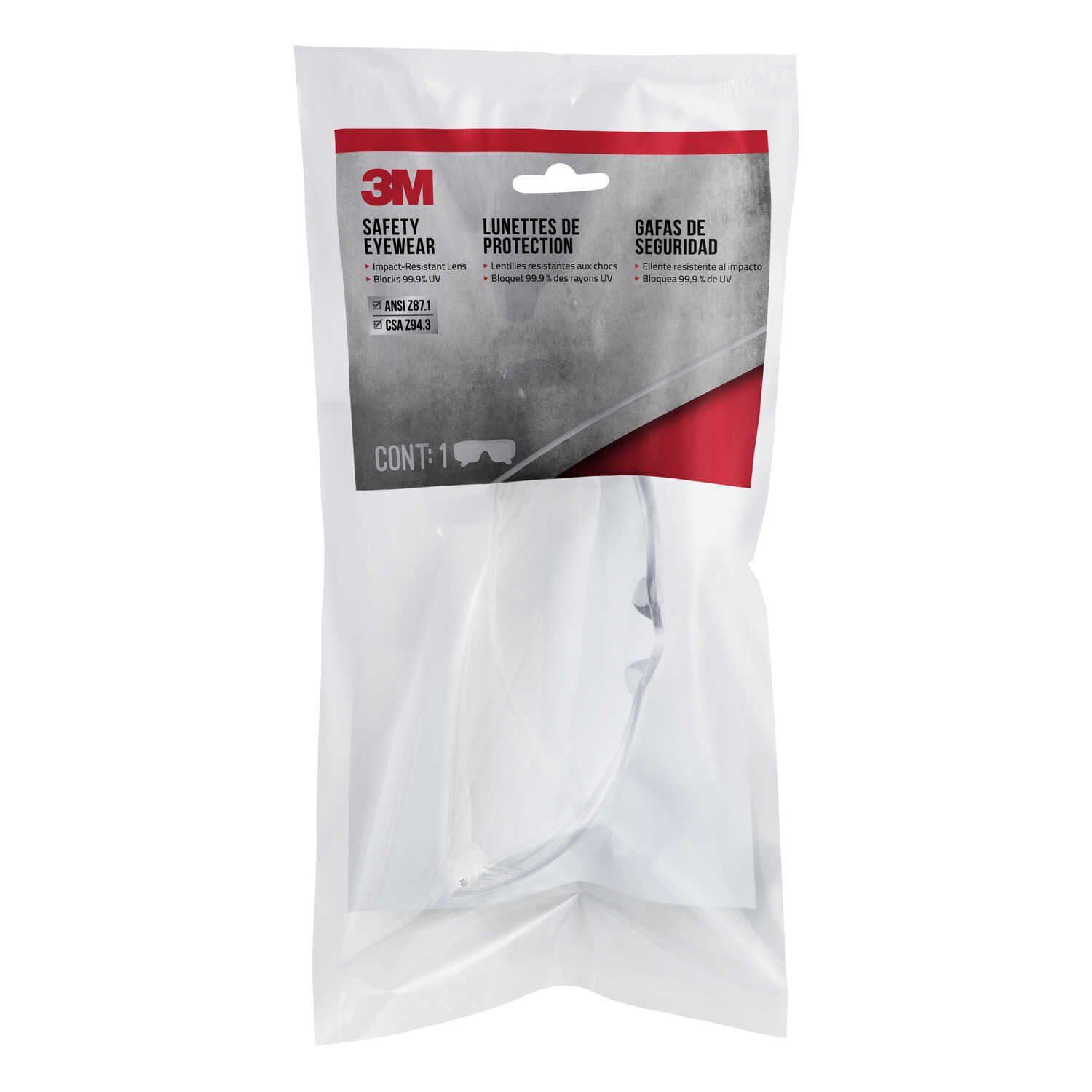3M  Safety Glasses  Clear Lens Clear Frame 1 pc.