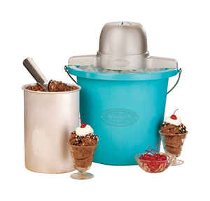 Nostalgia  Blue  4 qt. Ice Cream Maker  15 in. H x 12 in. W x 12 in. L