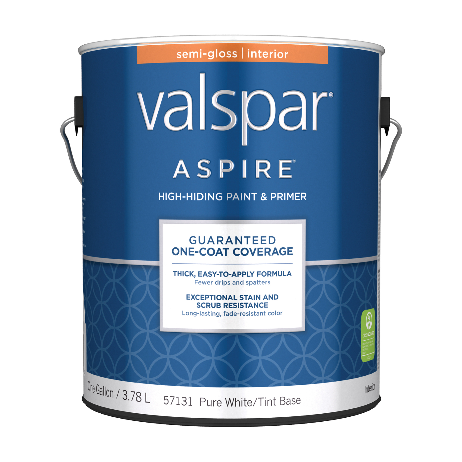 Valspar  Aspire  Semi-Gloss  Tintable  Pure White Tint Base  Acylic Latex  Paint and Primer  1 gal.