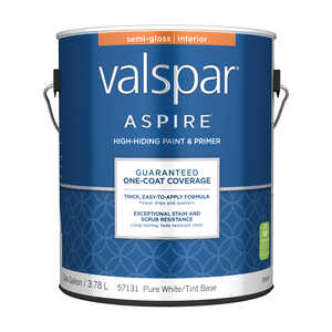 Valspar  Aspire  Semi-Gloss  Tintable  Pure White Tint Base  Acrylic Latex  Paint and Primer  1 gal.