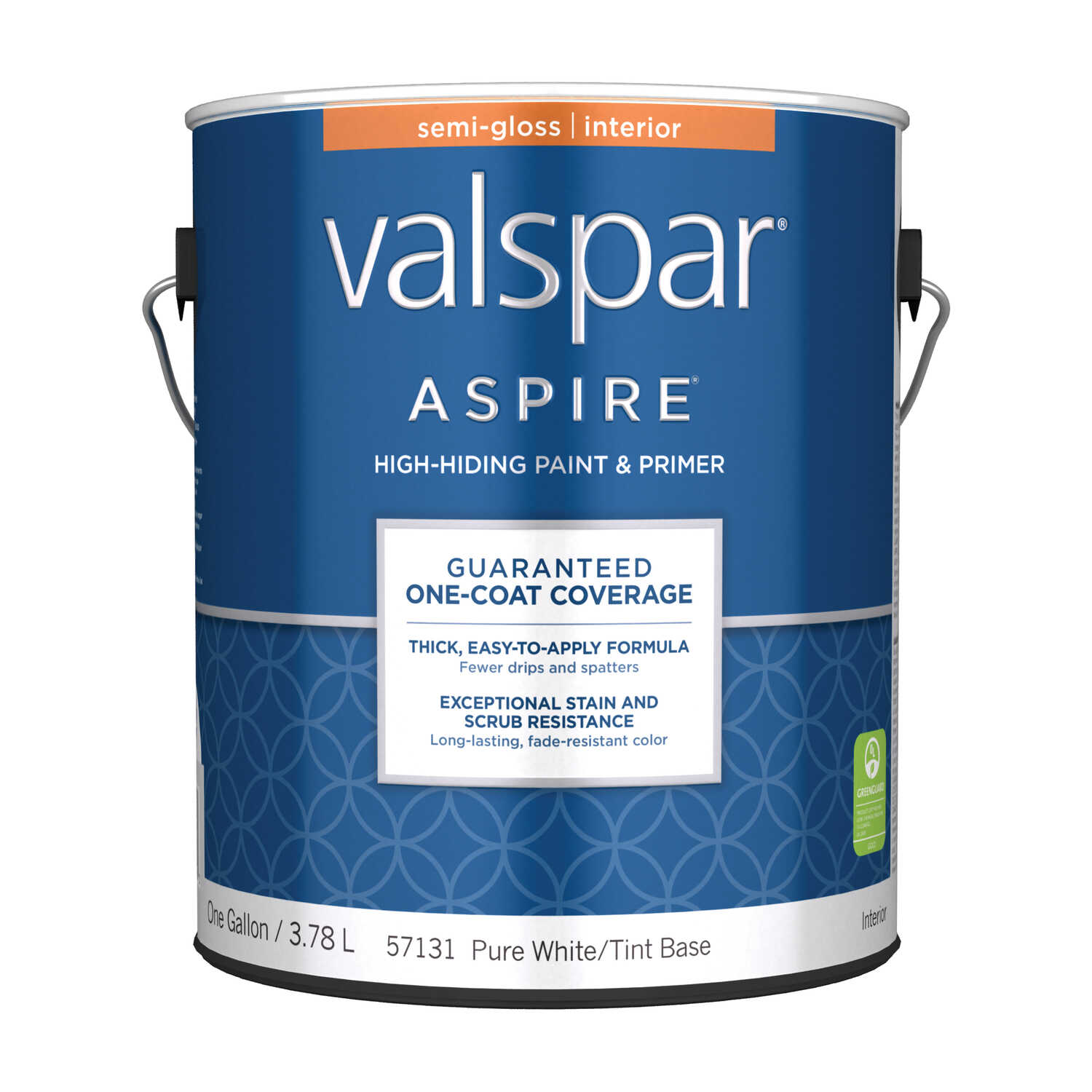 Valspar  Aspire  Semi-Gloss  Tintable  Pure White Tint Base  Acrylic Latex  Paint and Primer  Indoor