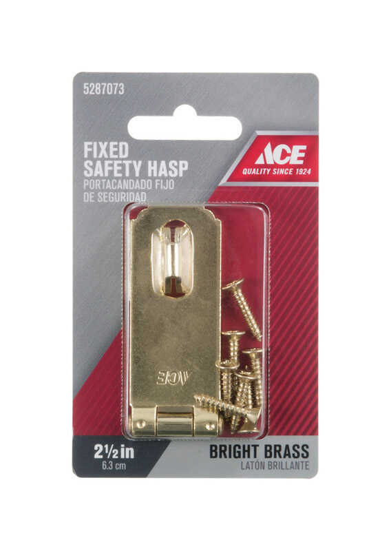 Ace  Bright  Brass  2-1/2 in. L Fixed Staple Safety Hasp