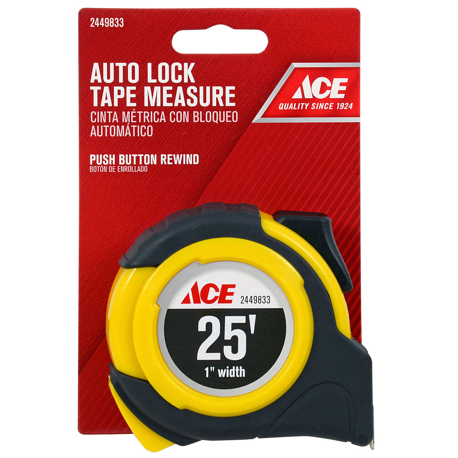 Ace  25 ft. L x 1 in. W Auto Lock  Tape Measure  Yellow  1 pk