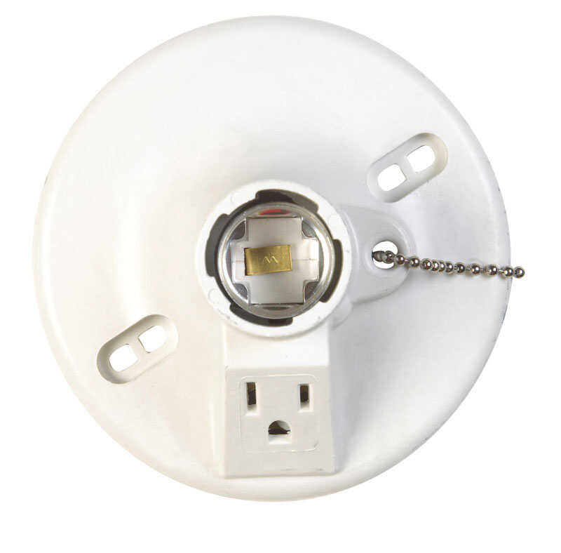 Allied Moulded  Lampholder w/Outlet & Pull Chain  1 pk