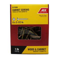 Ace  No. 8   x 2-1/2 in. L Phillips  Yellow Zinc-Plated  Cabinet Screws  1 lb. 110 pk