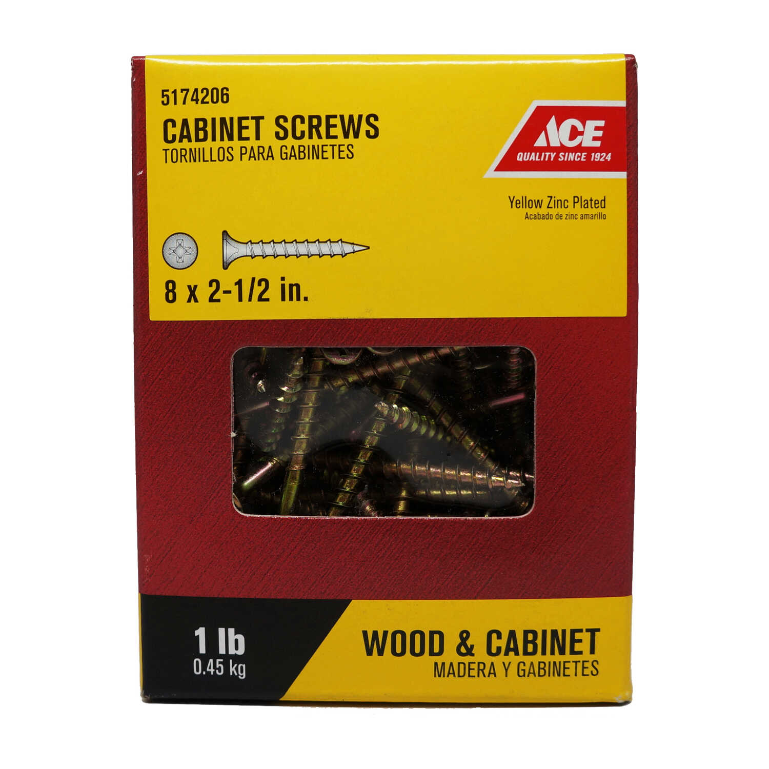 Ace  No. 8   x 2-1/2 in. L Phillips  Bugle Head Yellow Zinc-Plated  Steel  Cabinet Screws  1 lb. 110